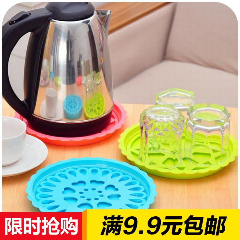 包郵創意塑料瀝水杯墊水壺墊防漏水暖壺墊子熱水瓶托盤隔熱墊