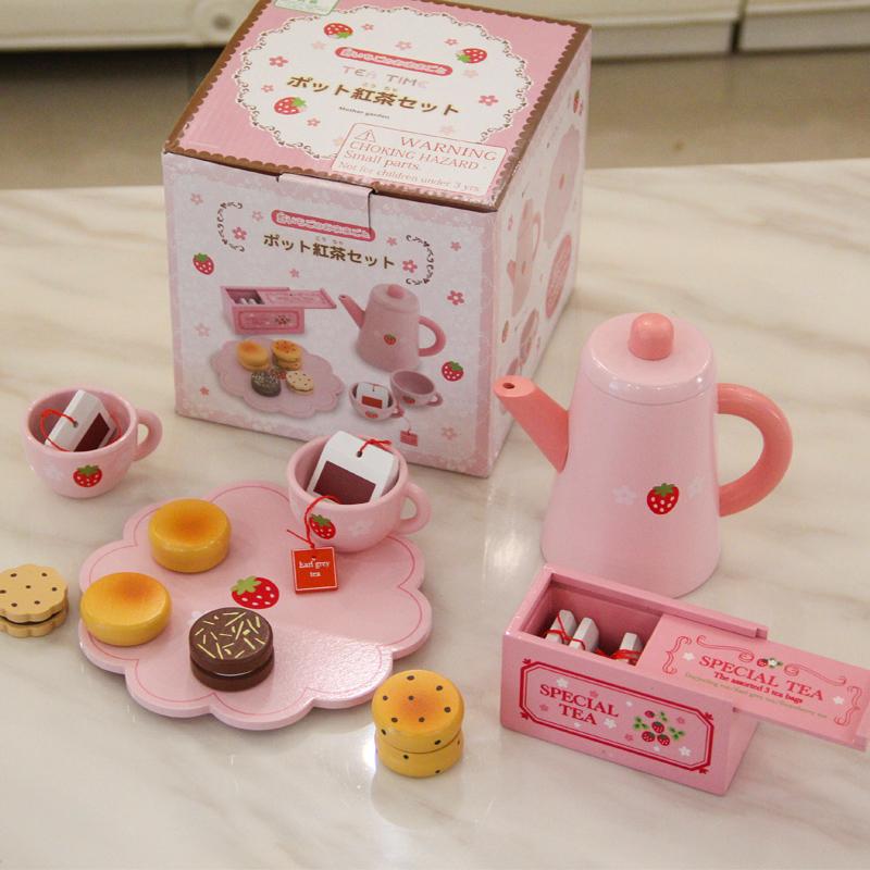 儿童仿真木制玩具咖啡茶具茶杯茶壶 女孩过家家厨房套装下午茶