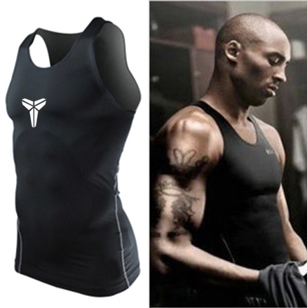Kobe high stretch vest fitness training sweat absorbing short sleeve breathable fast drying tights basketball bottoming T-shirt