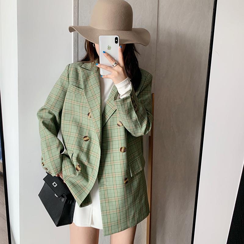 2021 spring and autumn new Avocado Green Korean loose chic retro Plaid Blazer womens thin net red coat