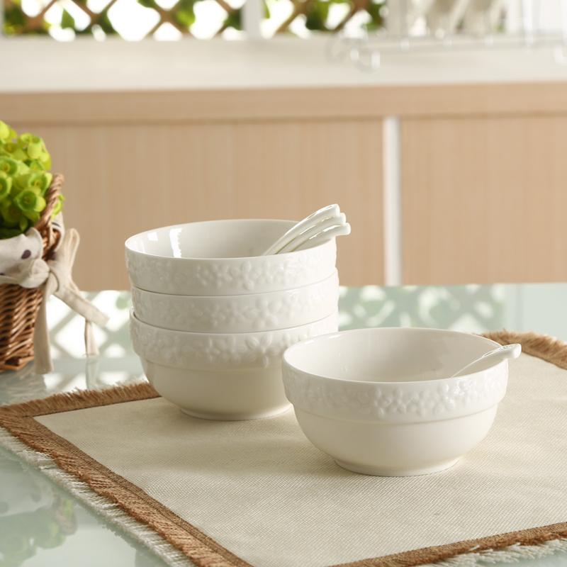 ~天貓超市~順祥白瓷浮雕陶瓷碗勺8件套裝 餐具米飯碗麵湯碗