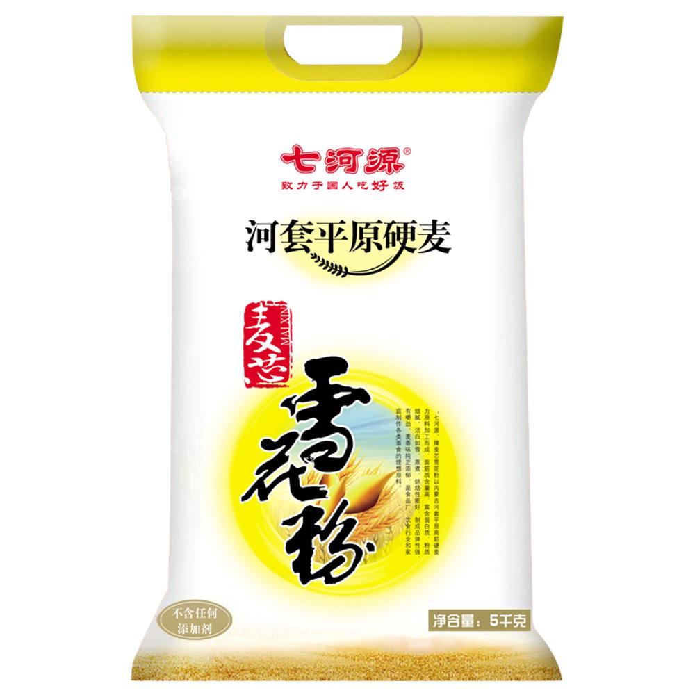 ~天貓超市~七河源河套麥芯雪花粉5kg 麵粉 可製作麵條 口感勁道