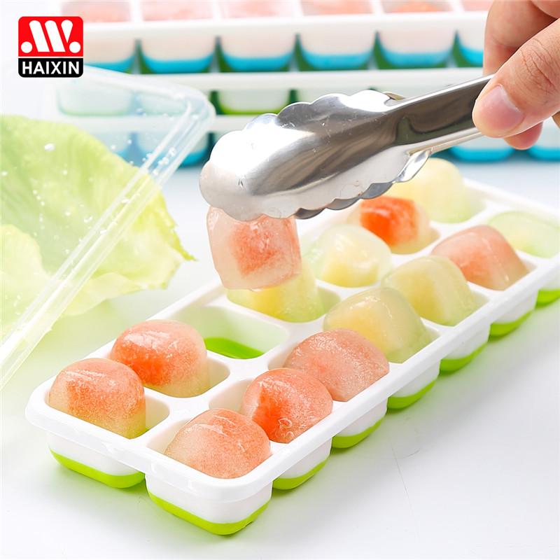 ~天貓超市~Haixin海興矽膠帶蓋冰格冰塊冰激淩雪糕製冰2件套
