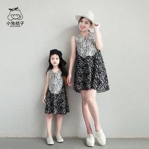 亲子装夏装雪纺女童夏季童装家庭母女装连衣裙韩版时尚2019新款裙