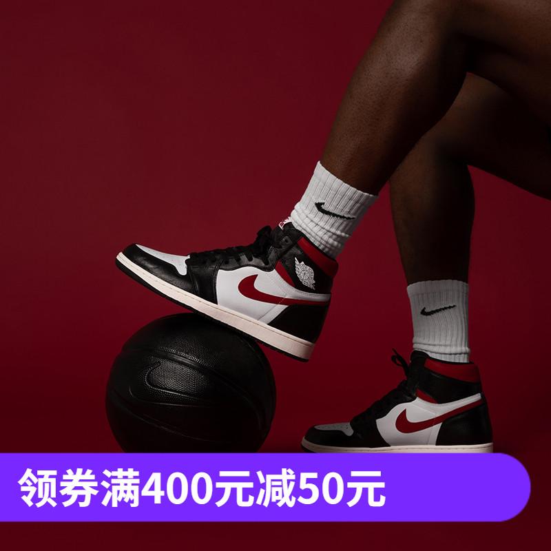 NIKE AIR JORDAN 1 AJ1男子红钩黑脚趾休闲篮球鞋 555088-081-061