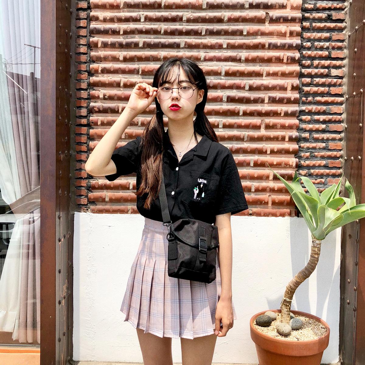 YUKI小树家 自制推荐刺绣西装领衬衫炒好看韩国18夏季新款 c0669