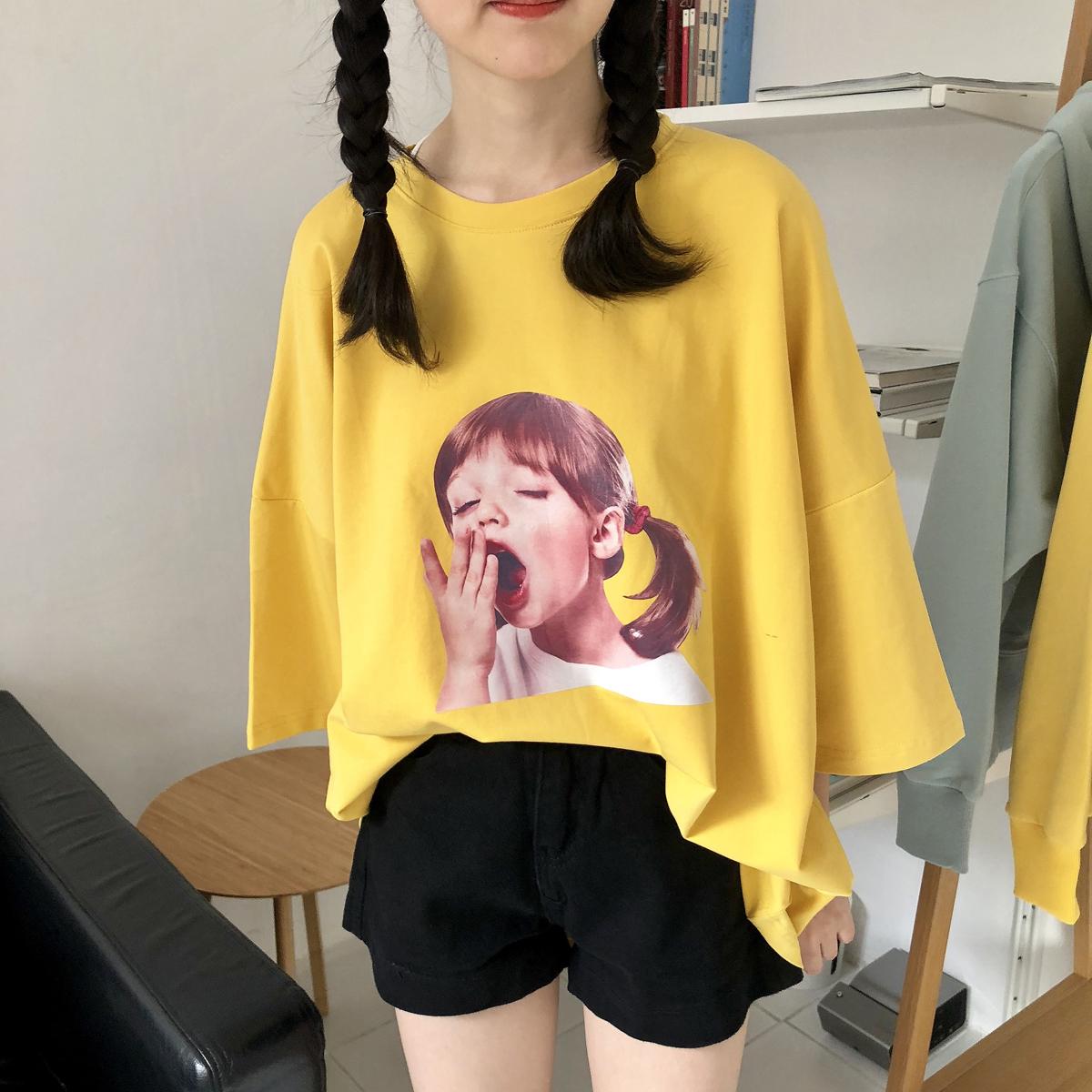 YUKI小树家 自制炒鸡可爱哈欠女孩黄色T恤韩国新款t0763