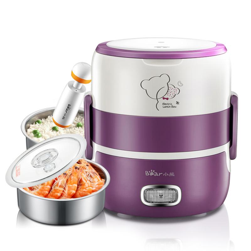 小熊電熱飯盒雙層熱飯器蒸煮電飯盒便當盒可插電加熱保溫飯盒迷你