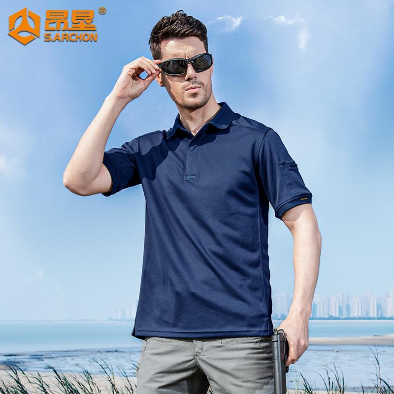 夏季户外速干T恤男翻领透气运动短袖宽松军迷战术半袖保罗POLO衫
