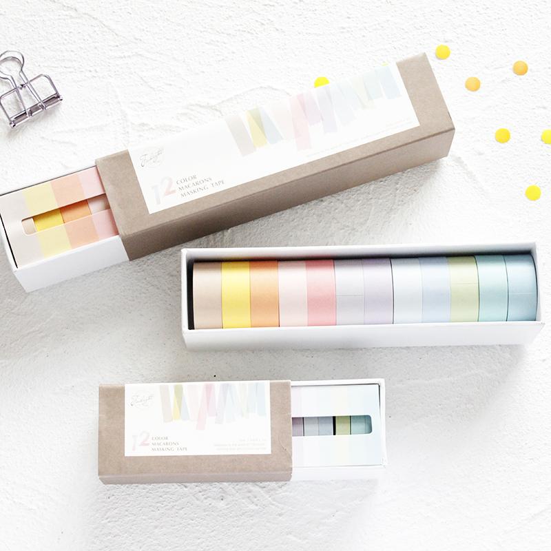 包邮基础款纯色胶带纸彩色套装手帐diy装饰12色组合易撕和纸胶带