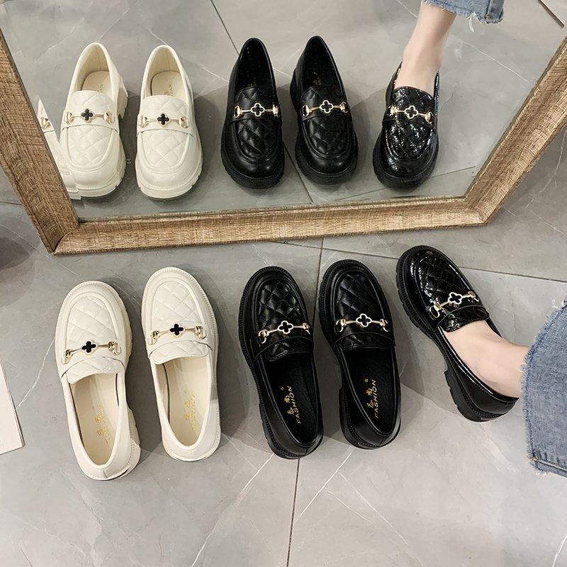 春季新款低跟软底小皮鞋女士英伦风舒适百搭小单鞋