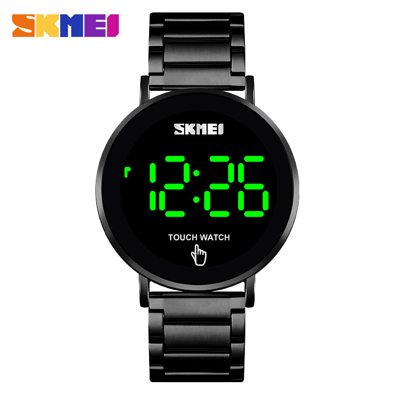 New simple and fashionable led touch screen mens watch timebeauty skmei waterproof stainless steel with electronic watch