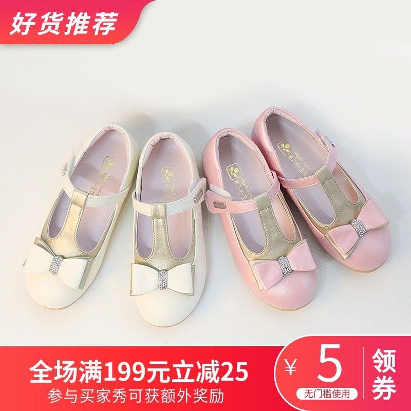 斯乃纳春秋新款3.5-8岁吊坠小女童鞋公主皮鞋儿童单鞋软底学生鞋