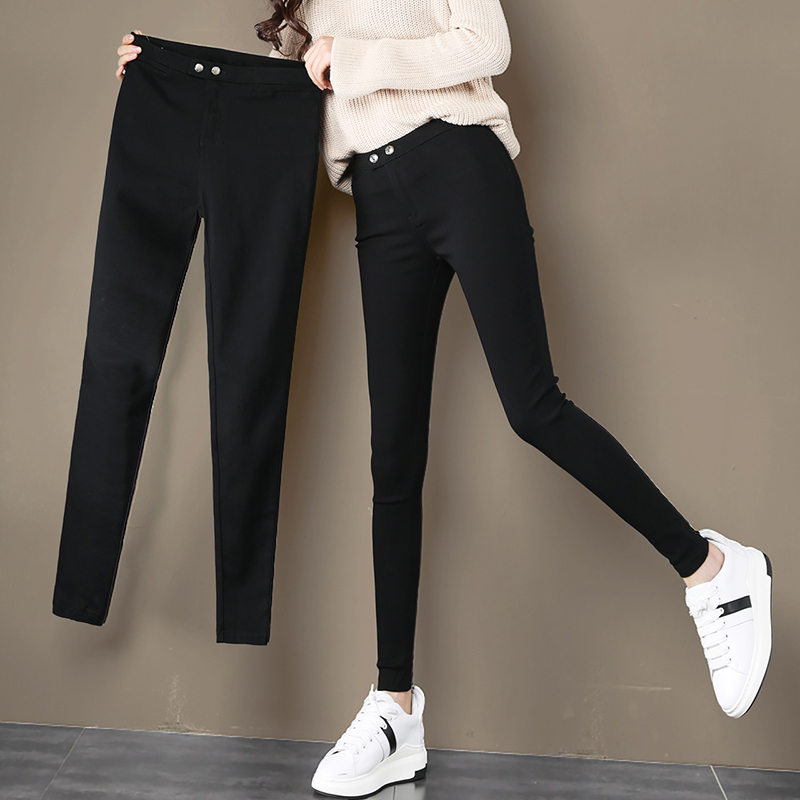 Magic pants small feet spring and autumn winter thin small black pants show thin and versatile Black Pants Plus velvet Leggings women's pants wear outside