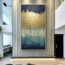 Fortune Tree oil painting into the Xuan Guan decorative painting vertical version of the modern simple living room light luxury hanging aisle mural gold
