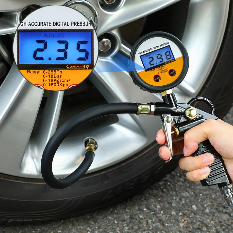胎压表气压表高精度带充气头汽车轮胎压监测器计数显加气表打气枪