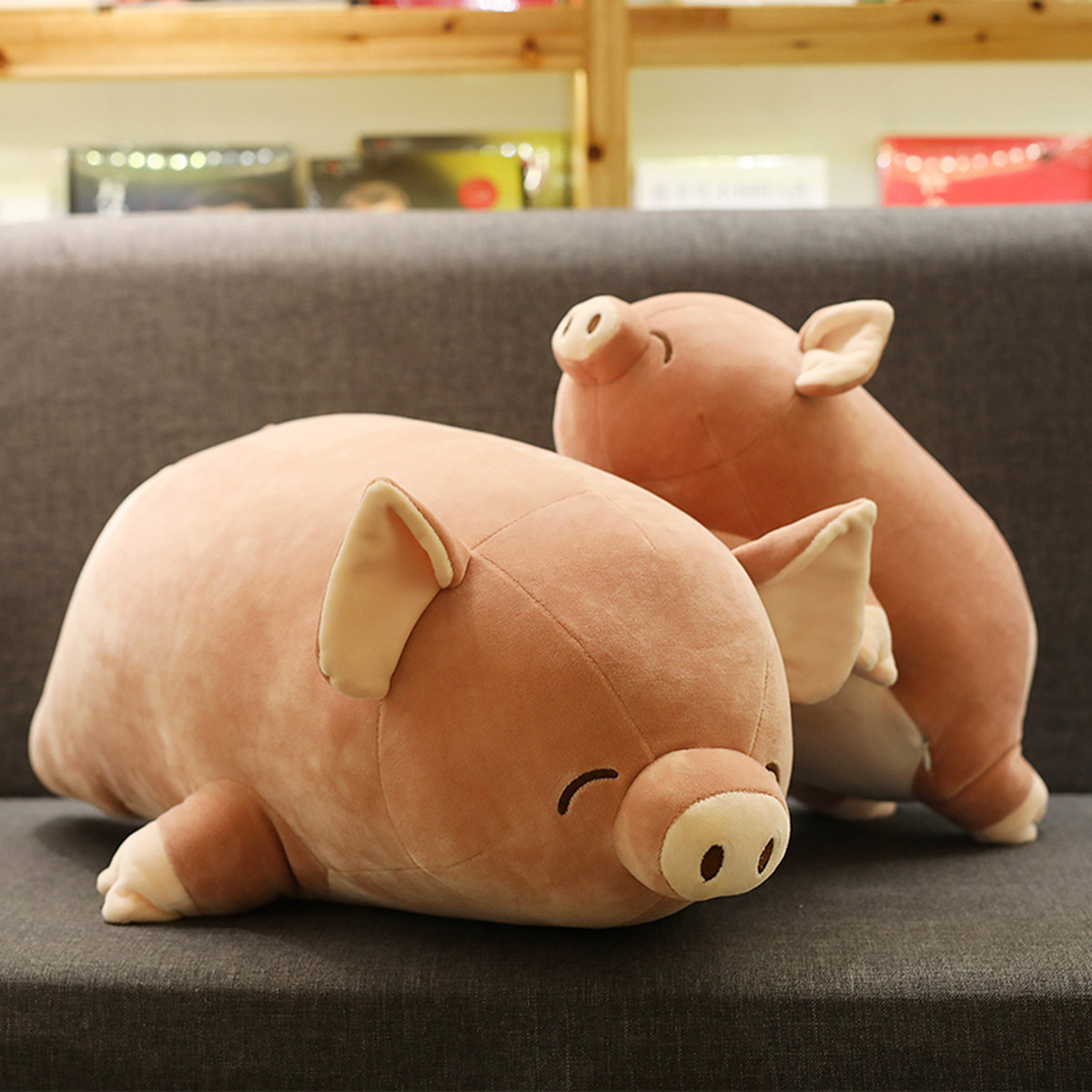可愛小豬毛絨玩具玩偶公仔懶人抱著睡覺娃娃抱枕超萌搞怪韓國女孩