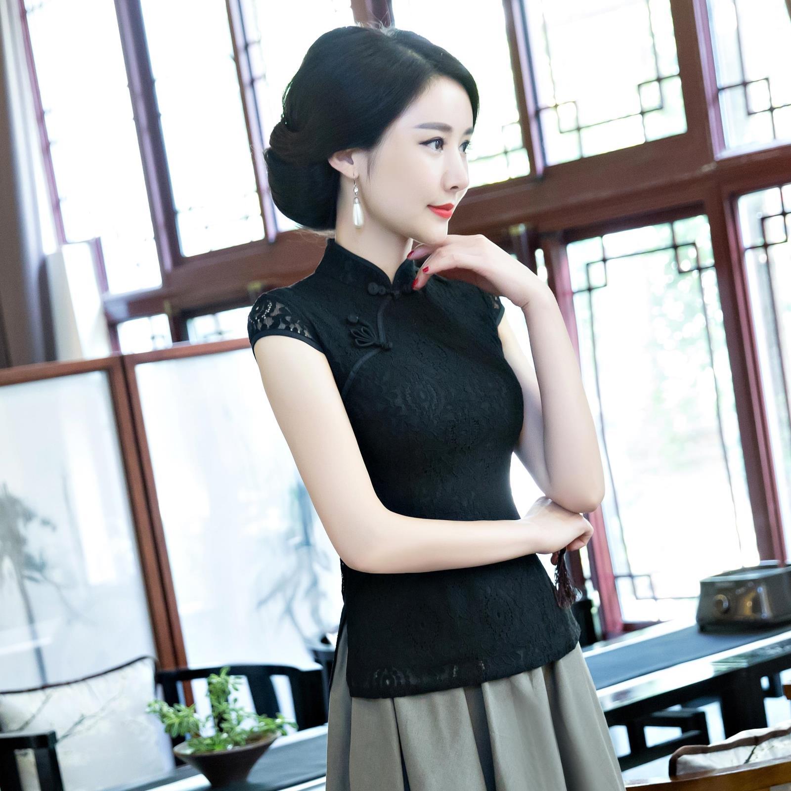 蕾丝旗袍上衣改良时尚短袖修身显瘦黑色唐装女装中国风复古套装夏