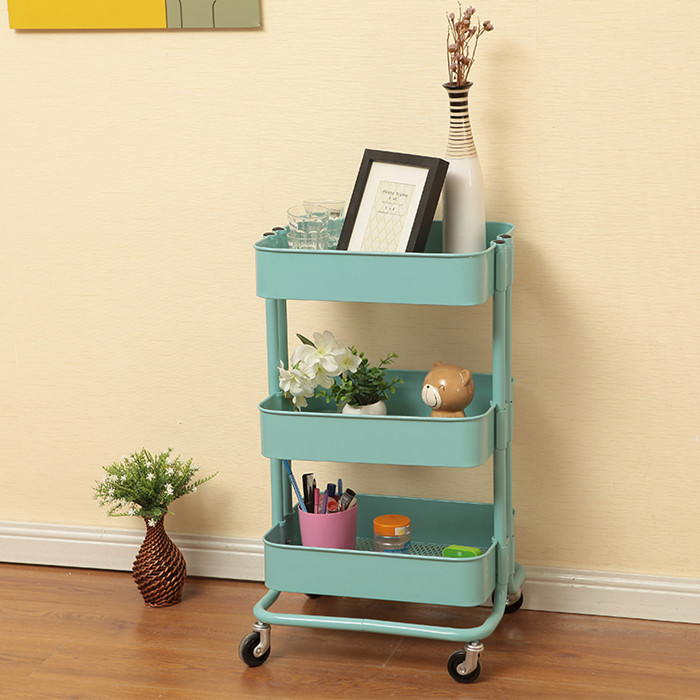 Package mail Lasker cart storage home wind Kitchen Cart shelf three layer trolley mobile bookshelf