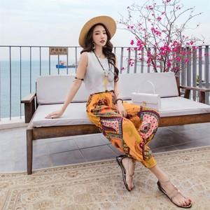 1820出游女装沙滩裤长裤女泰国海边度假宽松大码灯笼裤旅游裤子夏