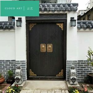 云艺仿古木门庭院中式大门实木农村别墅大门对开门定做老式门家用