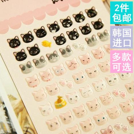 韩国进口Funny/Sonia 手机DIY手帐日记装饰贴画滴胶立体/平面贴纸