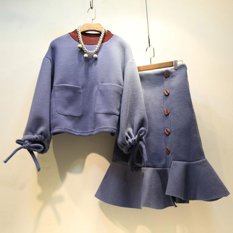 2019秋装精品女装时尚套装连衣裙微胖女神两件套鱼尾裙