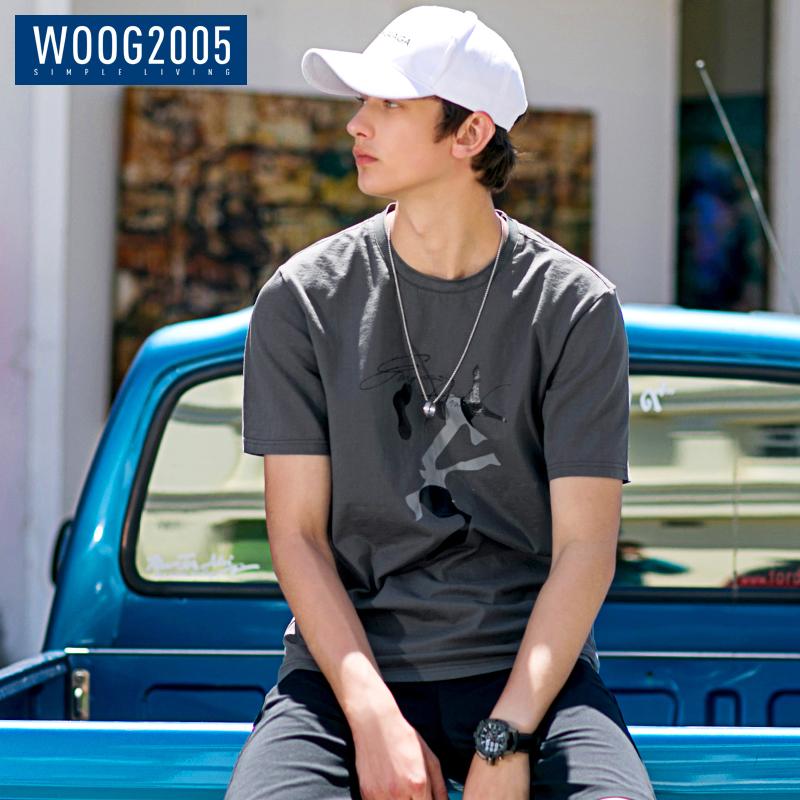 WOOG2005印花图案男士短袖t恤 2018夏季灰色潮流半截袖圆领体恤男