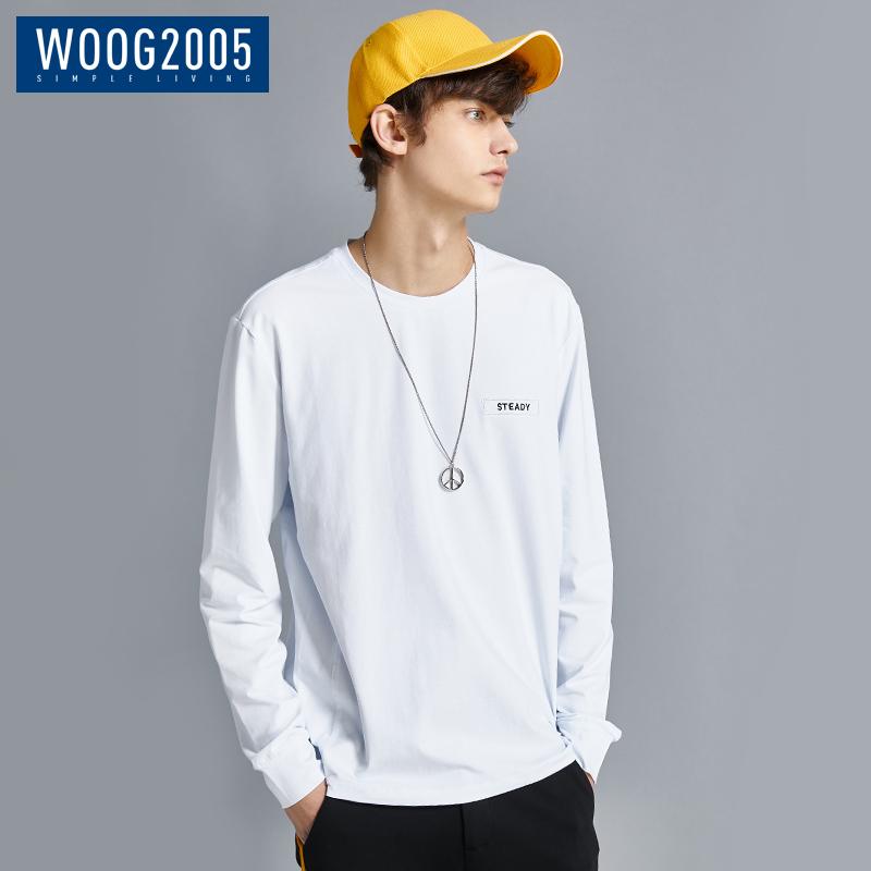WOOG2005白色圆领长袖t恤男 2018秋季刺绣体恤青年潮流宽松打底衫