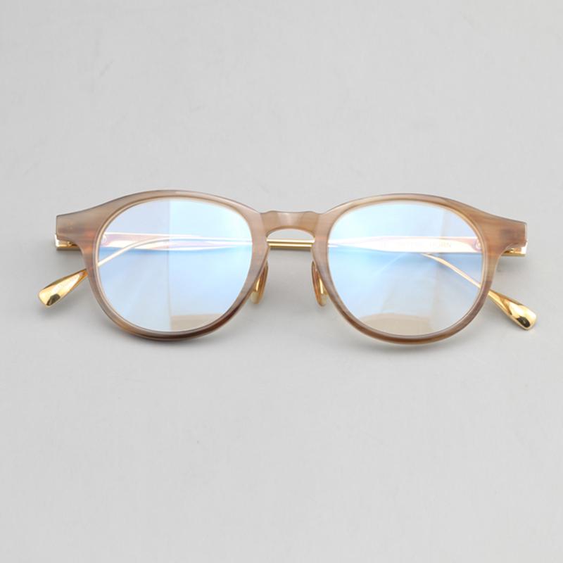 牛角圆框男天然手工纯钛镜腿眼镜架
