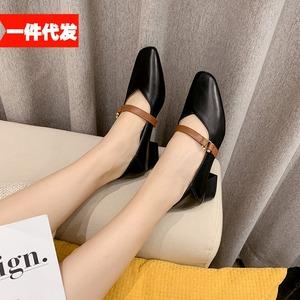 X-24757# 秋新款百搭大方扣粗跟增高低跟鞋女单鞋套脚复古小皮鞋 鞋子批发女鞋货源