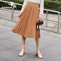 Gothic womens wear 2018 autumn winter new elegant fashion pleated skirt skirt over the knee skirt 8200006