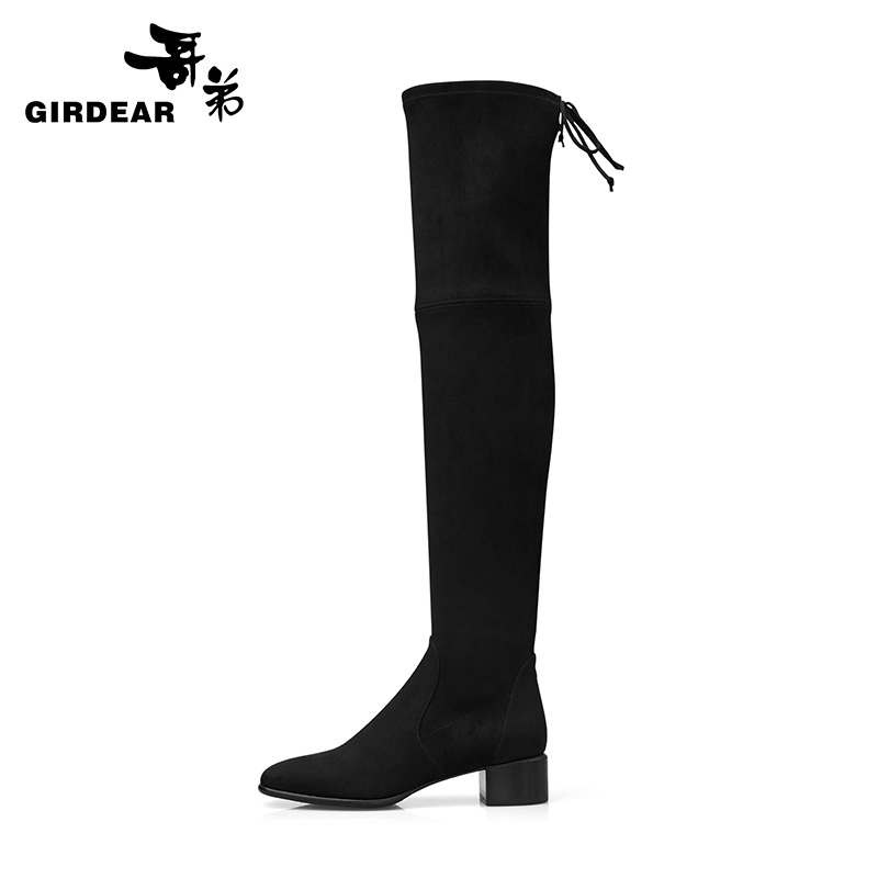 Brother women's shoes for fall/winter 2020 new square head flannel stretch knee boots fashion all-match women's boots AX15125