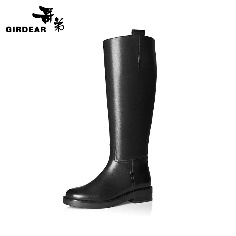 Brother women's shoes 2020 autumn and winter new cowhide square heel zipper boots women riding boots knight boots AX15124