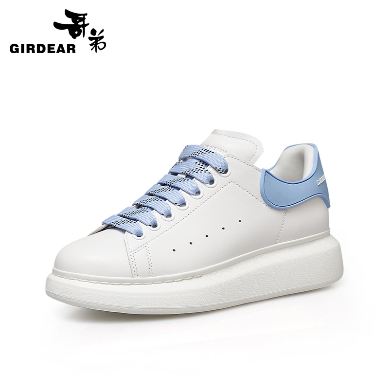 Brother women's shoes 2021 spring new leather thick-soled increased white shoes female wild casual shoes sneakers 910202