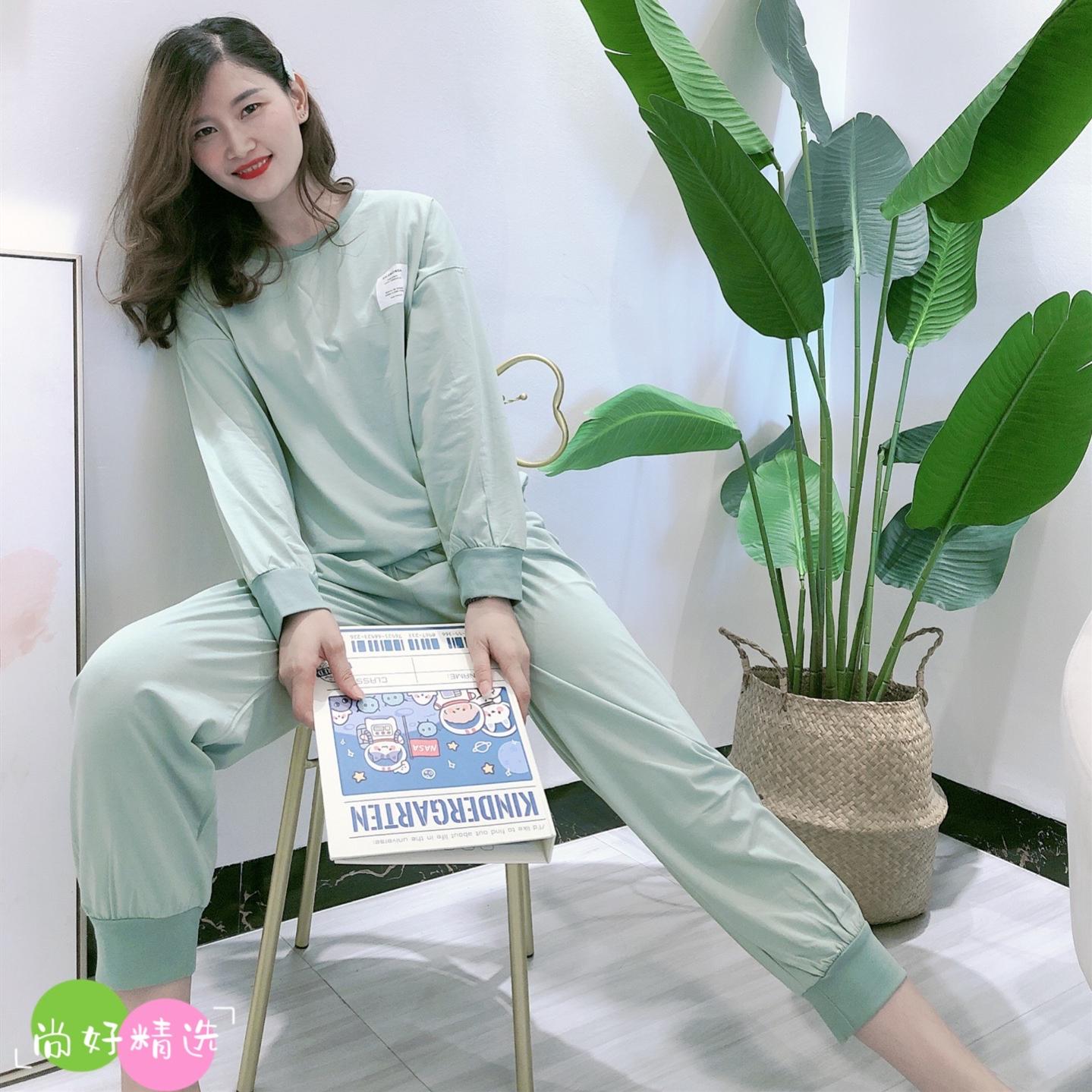 秋季睡衣女纯色果果家圆领新款长袖运动套装休闲简约纯棉家居服