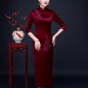 立体绣花妈妈装婚宴长款喜中旗袍裙