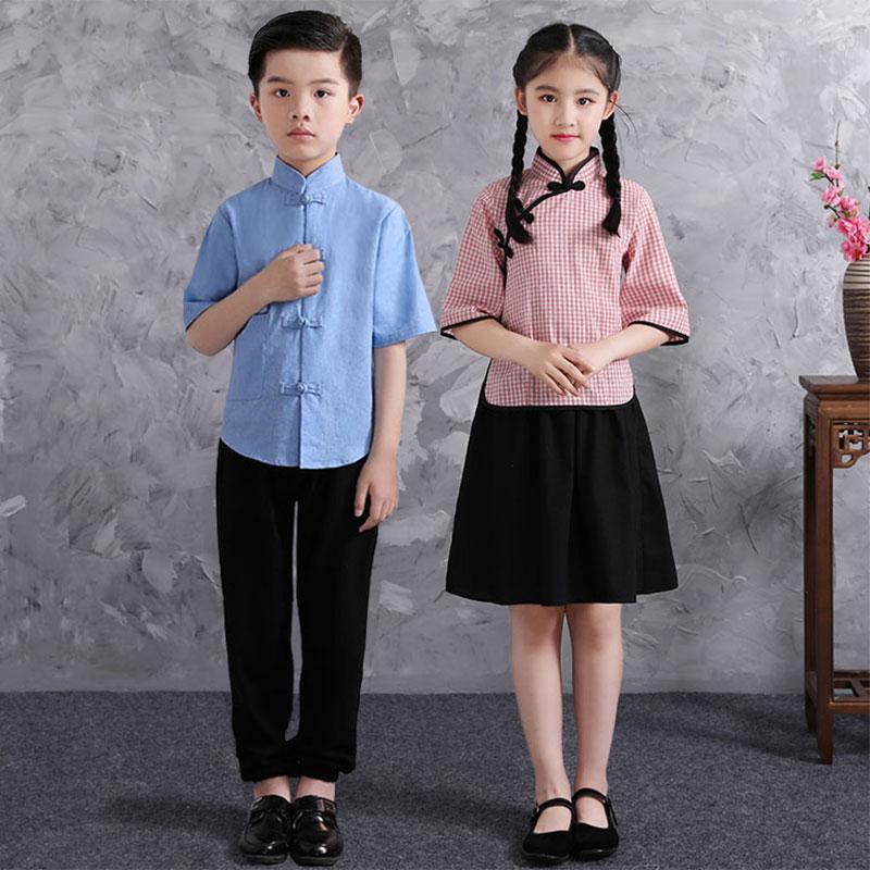 六一儿童节表演服民国风学生中山装五四青年装古装汉服合唱演出服