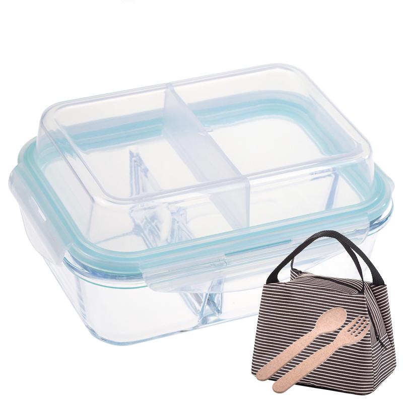 新品双层分隔玻璃饭盒微波炉饭盒分格便当盒耐热保鲜盒密封碗满8元可用2元优惠券