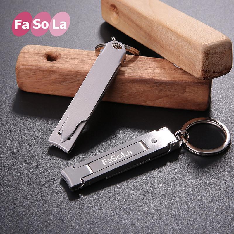 日本FaSola不锈钢指甲剪超薄指甲刀便携折叠式修甲美甲脚趾指甲钳