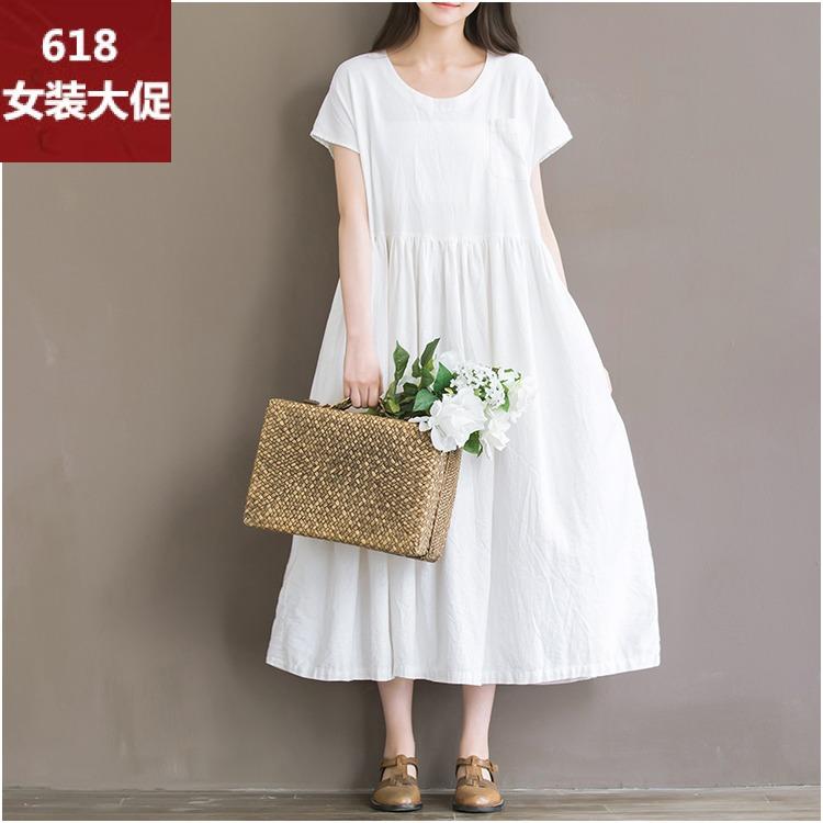 2018夏季新款女装连衣裙绽放旅行短袖棉麻连衣裙长裙圆领宽松