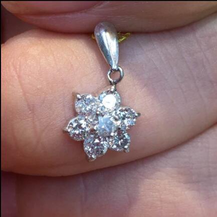 日本二手珠宝真品代购工艺铂金900 小雪花0.50ct天然钻石吊坠包邮
