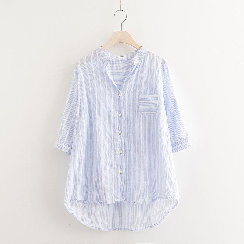 条纹衬衫女长袖2018春装宽松新款中长款韩版短袖夏季薄棉麻上衣女