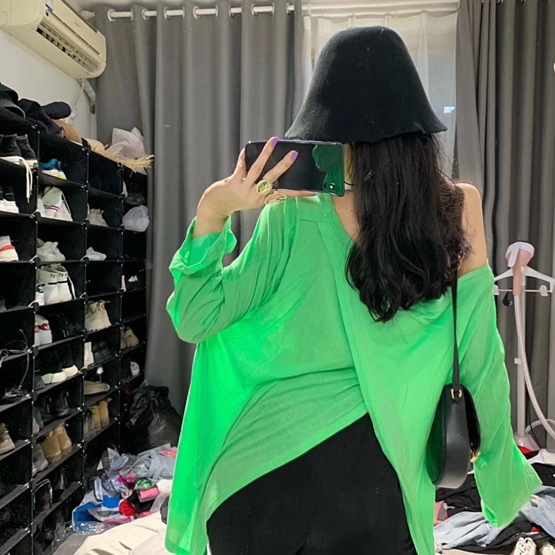 Wu.33韩国夏季后背交叉新款长袖女t恤宽松百搭ins超火薄款防晒衣(用1元券)