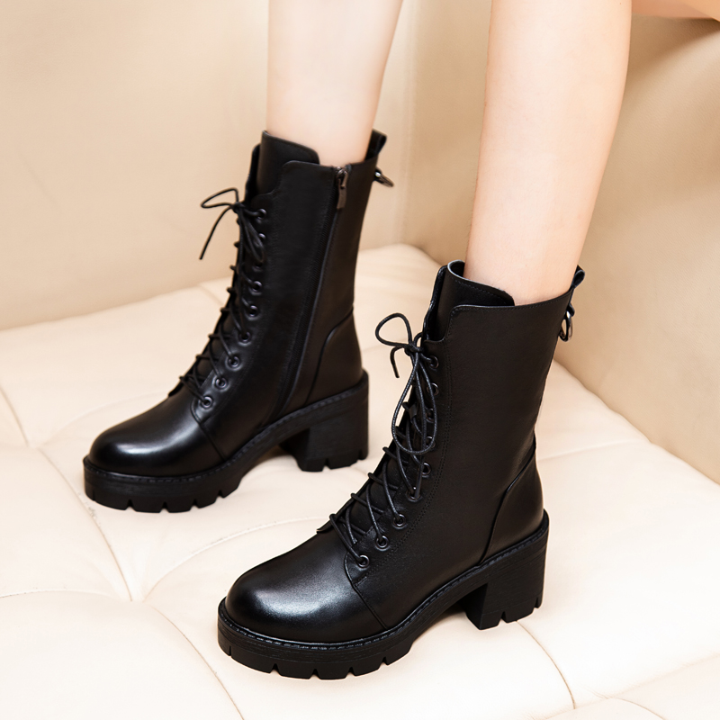 Leather thick-heeled boots 2020 autumn and winter new wild thick-soled handsome Martin boots female British style high-heeled ankle boots
