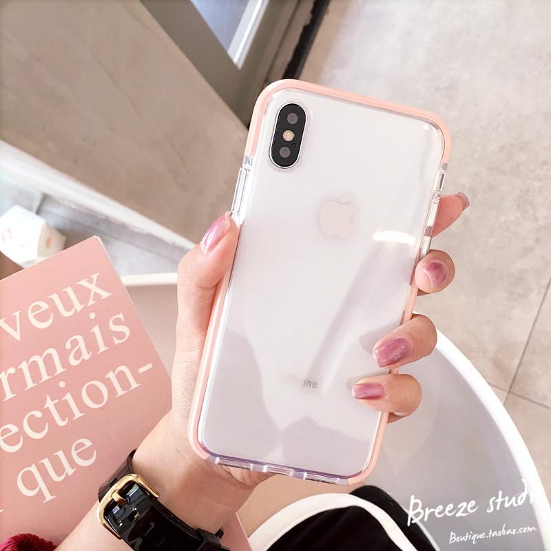 苹果x手机壳边框透明8plus软壳iPhone6s硅胶全包7p男女款粉色白色