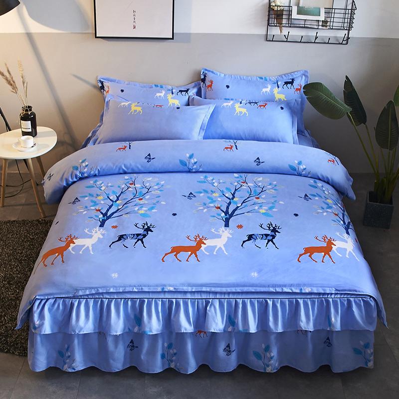 四件套全棉纯棉床裙式网红同款床单