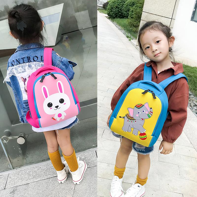 幼儿园书包 韩版儿童卡通双肩包1-3-5-6岁男女宝宝轻薄潜水料书包