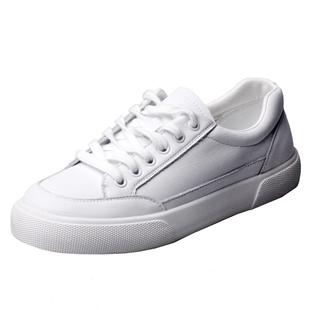 軟皮牛皮小白鞋女白色板鞋真皮平底鞋2020新款單鞋百搭簡約工作鞋