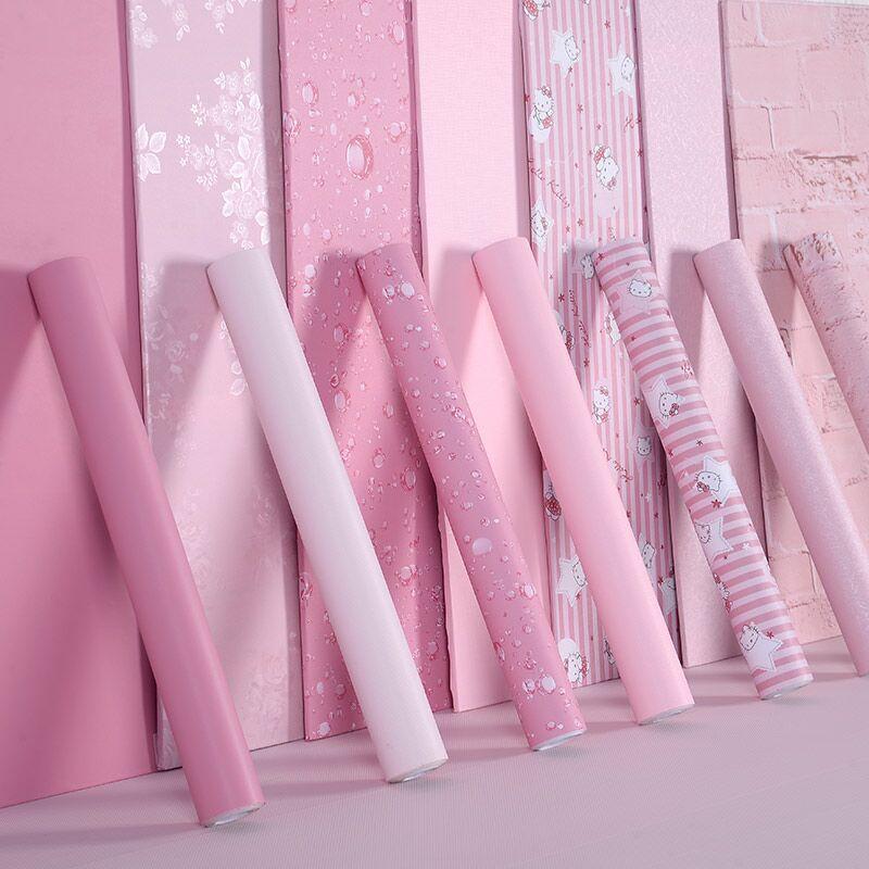 Розовый девушка сердце обои самоклеящийся водонепроницаемый комната с несколькими кроватями спальня стена бумага сон комната гардероб сын мебель протектор наклейки наклейки для стен